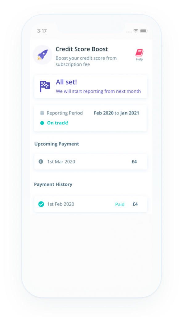 screenshot of credit boost homepage from UK credit builder app Portify