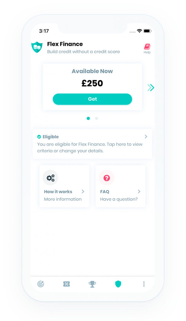 Screenshot of the Flex Finance homepage from credit boost app
