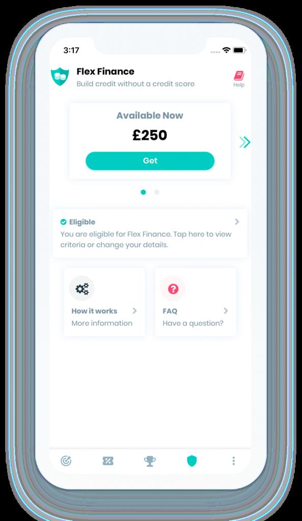 Screenshot of Flex Finance from UK credit builder app Portify
