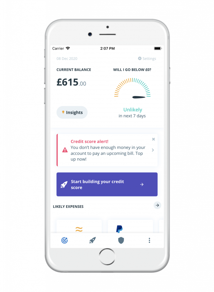 Screenshot of the credit score alert from credit builder Portify on the app homepage. The alert will inform you of a bill that we've predicted you won't be able to pay